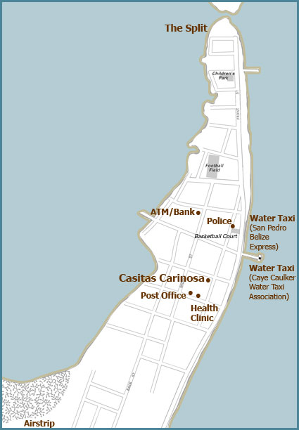 Where Our Vacation Rental Homes are Located on Caye Caulker